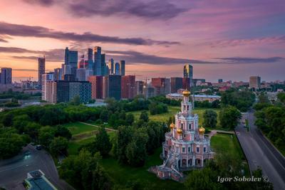Московский рассвет Москва утро Церковь Покрова в Филях Москва-сити