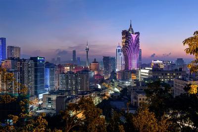 Ночной вид на Макао, Китай Город китай макао