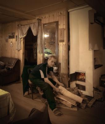 Зимний вечер в хижине свободного охотника. Портрет