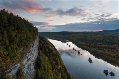 Вишера и Ветлан река Вишера скала Ветлан закат осень
