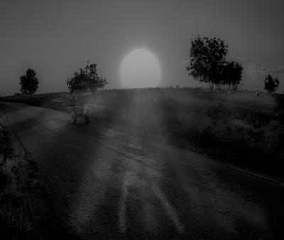 Бричка на закате по дороге из Паркента в Белсенды. Ослик уже устал...