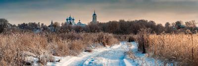 Зимним утром в Серпухове зима снег природа пейзаж монастырь подмосковье россия