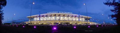 Аэропорт Красноярск II город Красноярск Сибирь универсиада вечер огни прогулка аэропорт небо