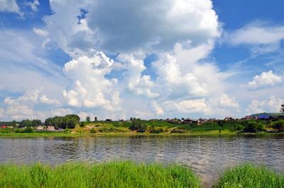 Лето в Деревне Сибирь деревня лето пруд облака небо