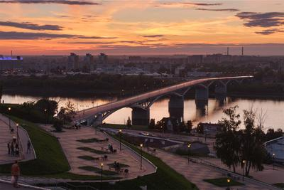 Летний вечер закат город Нижний Новгород мост набережная небо треки