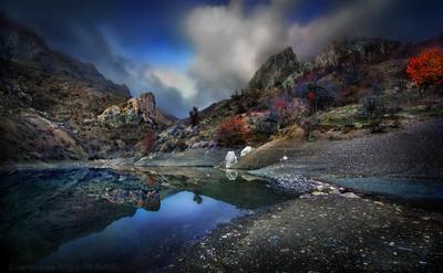 Изумрудное озерцо под склонами живописных гор Алушта горы Демерджи Крым скалы Чатыр-даг Панагия Зеленогорье ДолинаПривидений