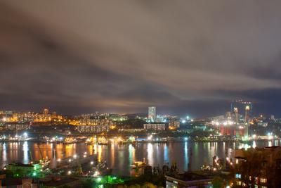 Ночной Владивосток владивосток, золотой рог, ночь, огни