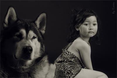 Взгляд со стороны девочка маугли волк собака дикая дикость человек детеныш чужой