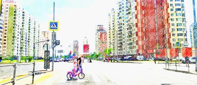 *** 2021 лето город Москва утро рисунок дорога Некрасовка