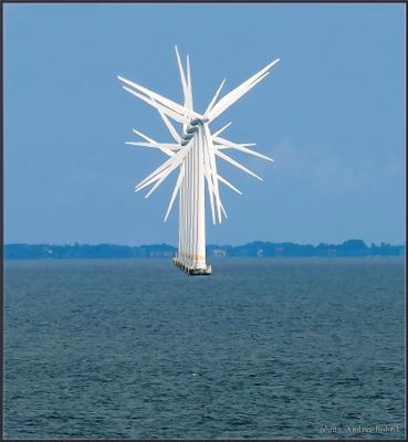 Танец лопастей Эресунн пролив рейд ветряки вода