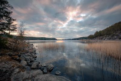 Север Ладоги карелия ладога залив закат скалы камни деревья облака холод пейзаж природа
