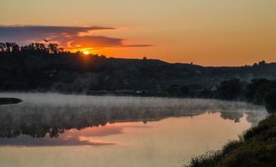 ***встречая первые лучи река туман рассвет утро лунь пронск