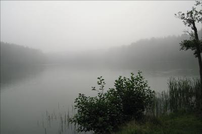 Уж небо осенью дышало. туман, озеро.