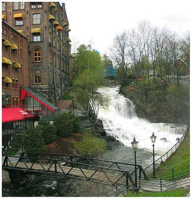 Городской водопад водопад, дома, город