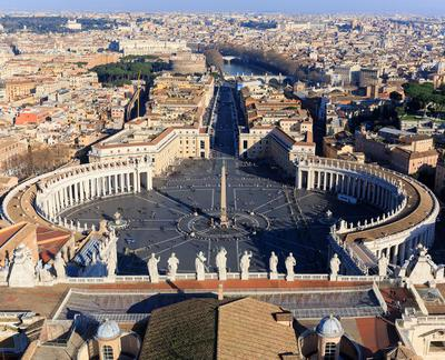 Площадь Святого Петра, вид с крыши собора, Ватикан. Рим Ватикан площадь св Петра