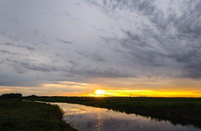 Неожиданный закат закат лето ручей деревня поле Великий Новгород