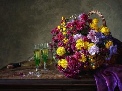 ***Прощание с бабьим летом натюрморт осень букет цветов белое вино бокалы
