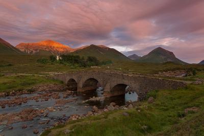 Sligachan Scotland Sligachan old bridge Cuillin sunset Шотландия закат