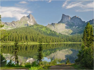 Горный  пейзаж  с озером  Горы скалы озеро  отражение