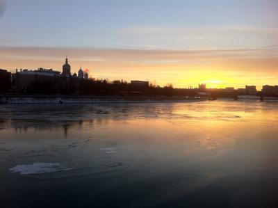 Первый лед москва, река, лед, зима, восход