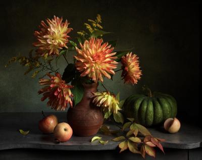 *** цветы георгины тыква осень букет
