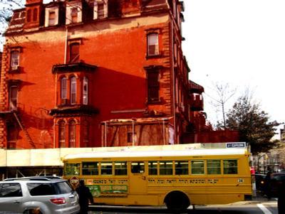 Жёлтый автобус Нью-Йорк, декабрь, жёлтый, автобус, красный, дом, New York