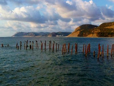 Большой Утриш Море облака природа птицы пирс горы пейзаж отражение волны