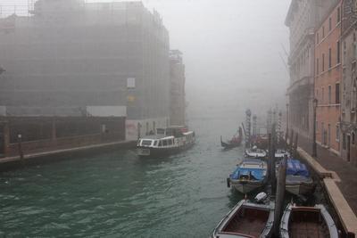 Дождливая Венеция Венеция Италия Дождь Весна Канал Вода