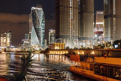 Ночной город Москва город ночной мегаполис телоход