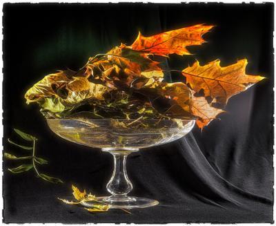 Ваза. ваза листья осень ткань
