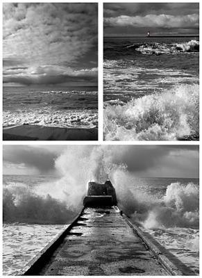 Песок, Маяк и буна ....  Море песок пейзаж буна шторм