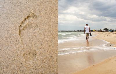 Оставить свой след... тунис море пляж песок отдых путешествие облака волны небо парень