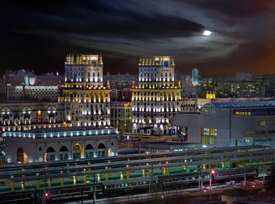 Городская панорама привокзальной площади Минска беларусь город мир вечер фотосфера-минск