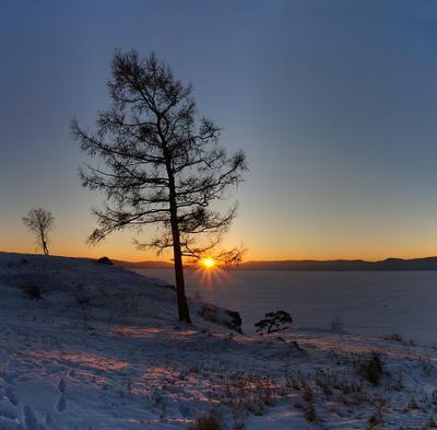 Уходящий день в лучах заката Урал озеро закат