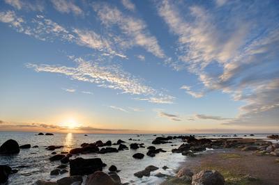 Финский залив Море, Финский, закат, камни