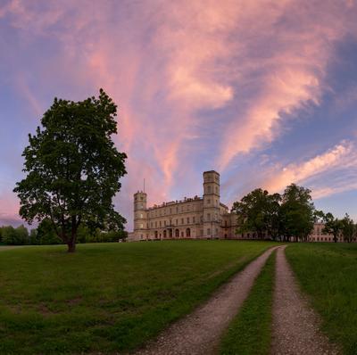 Гатчинский дворец Гатчина дворец закат парк