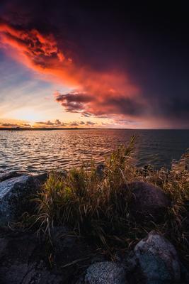 На закате дня Природа пейзаж побережье закат залив