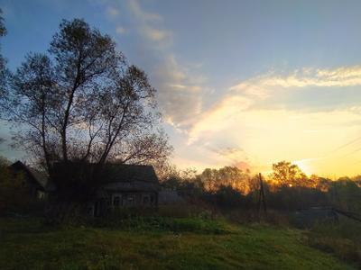 Новый день Рассвет солнце деревня природа восход небо облака