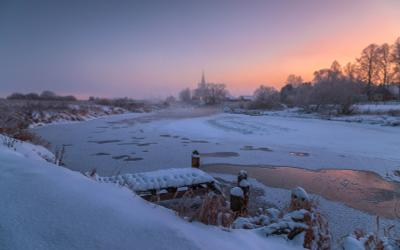 Дуниловские морозы 3 Дунилово Ивановская область зима мороз иней село храм рассвет