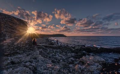 Закат в Херсонесе море вечер закат облака бухта пейзаж