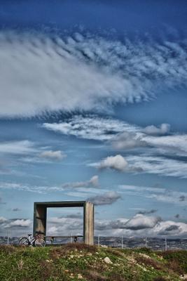 Velo кипр, велосипед, беседка, облака, небо