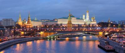 Вечерняя классика Москва, Россия, Кремль, река, мост