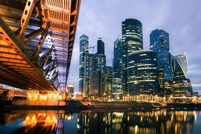 Москва-Сити*** Moscow City urban Architecture Sunset River Reflections lights Bridge Illumination cityscape
