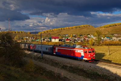 Осенний поезд Осень солнце тучи