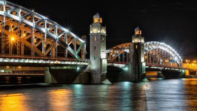Большеохтинский мост петербург весна ночь большеохтинский подсветка