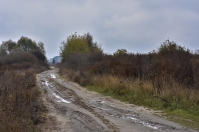 По сельской дороге Деревня дорога осень пейзаж лужи грязь