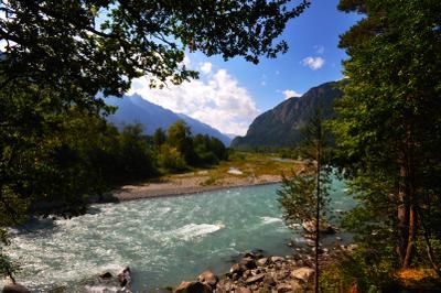 Теберда река горы красиво