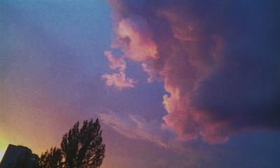 Облако закат панельное строение облако дерево