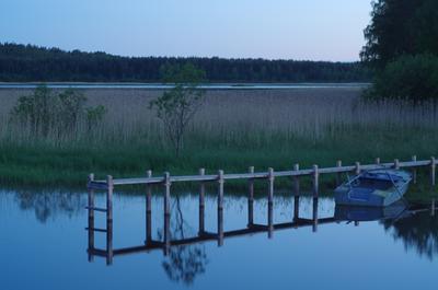 белая ночь лодка озеро ночь мостки