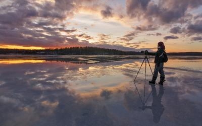 Зеркальное озеро закат озеро лед лёд зеркало